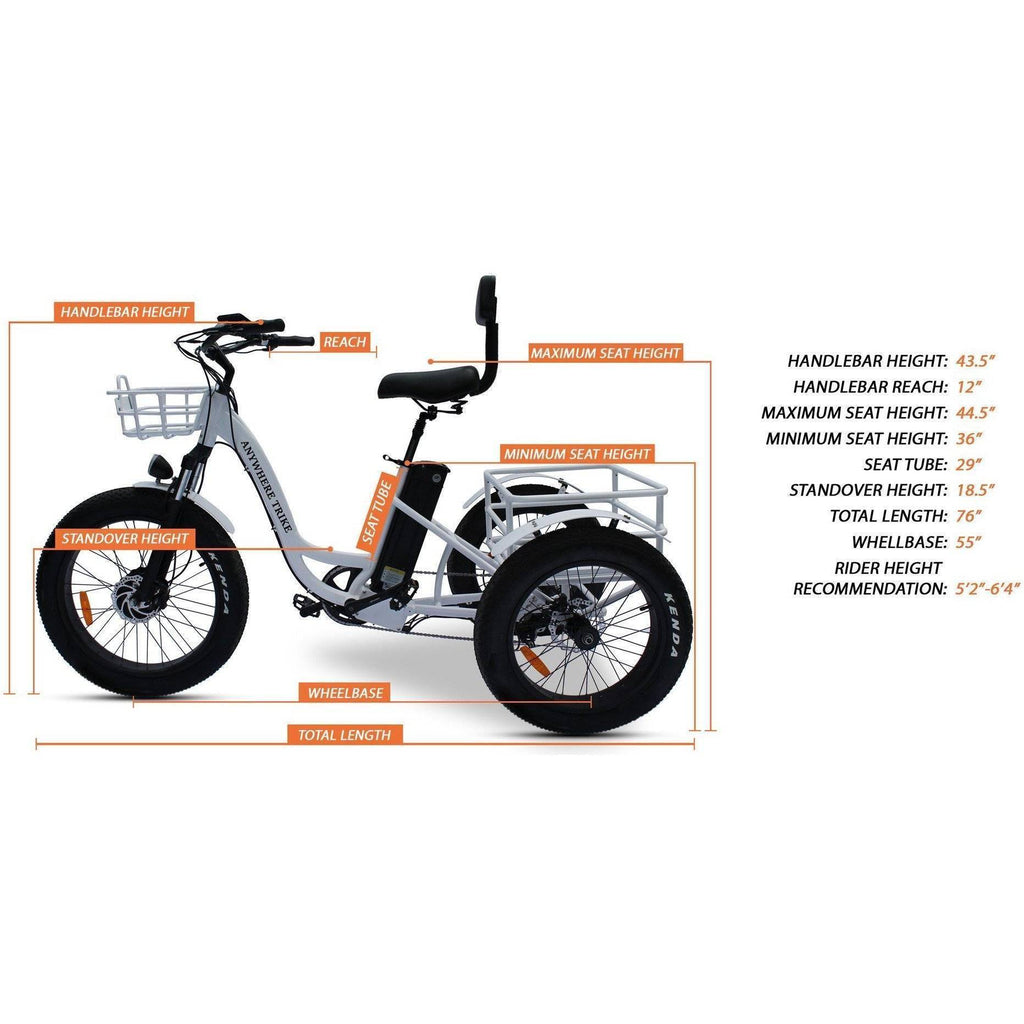 Anywhere Bikes Rugged Edition 48V/15.6Ah 500W Fat Tire Electric Trike AT-94W