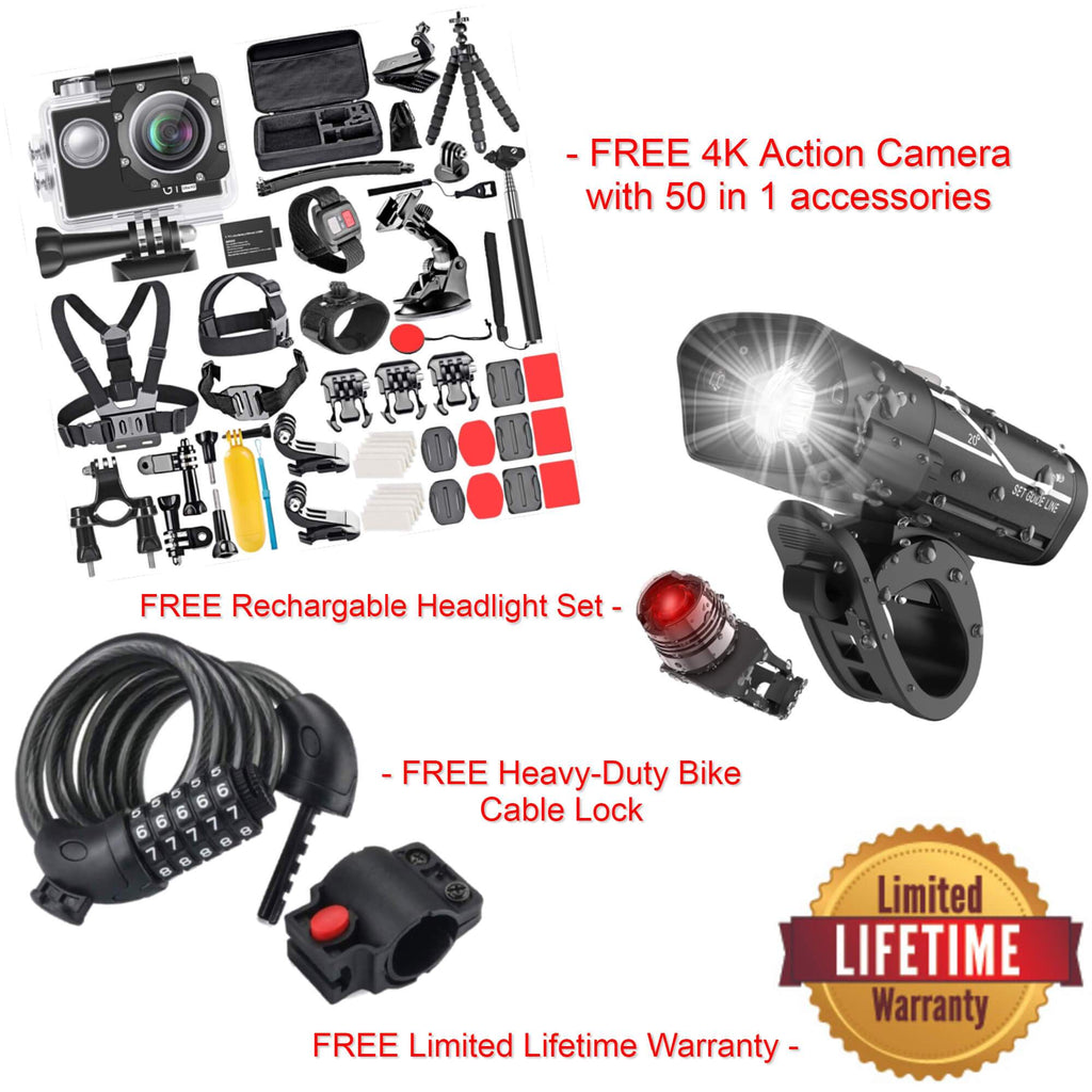 4K Action Camera with Remote/Battery and 50-in-1 Accessory Kit + Front and Rear Rechargeable Headlight + Limited Lifetime Warranty - Electricbikepros