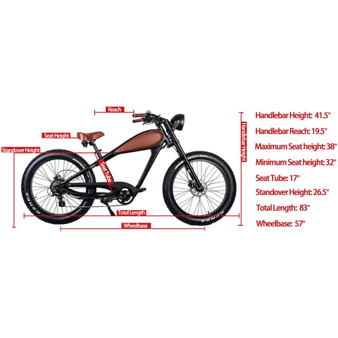 REVI Bikes Cheetah Cafe Racer 48V 13/17.5Ah 750W Fat Tire Electric Bike
