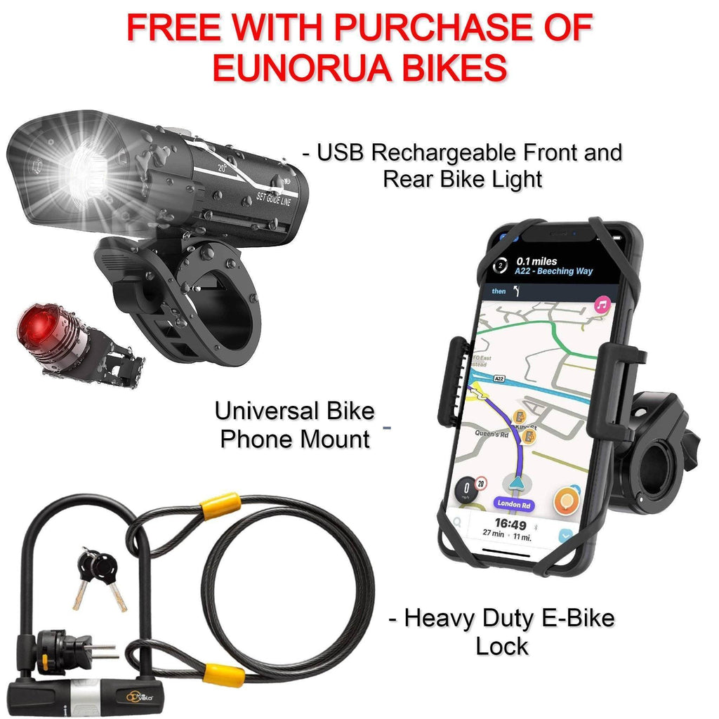 FREE: 600 Lumen USB Rechargeable Front and Rear Bike Light + Universal Bike Phone Mount + Heavy Duty E-Bike U-Lock