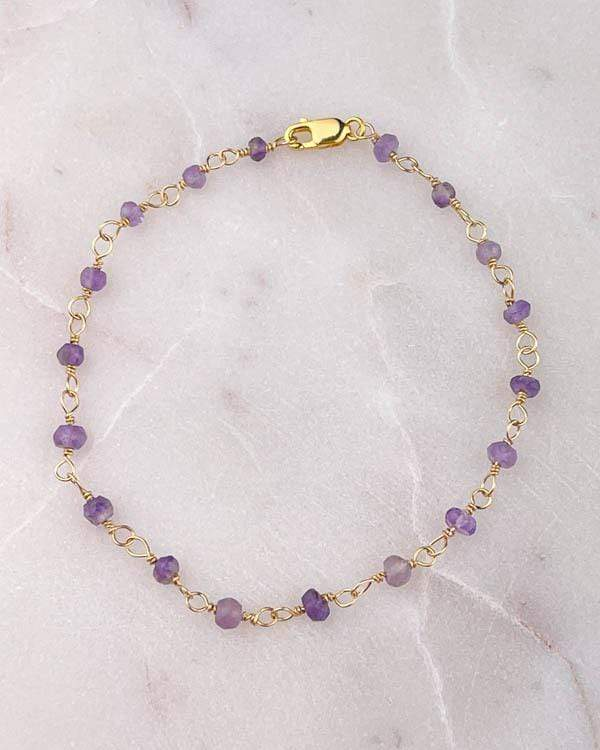 styleinshop Bracelets-Gemstone Amethyst beaded Bracelet, February birthstone