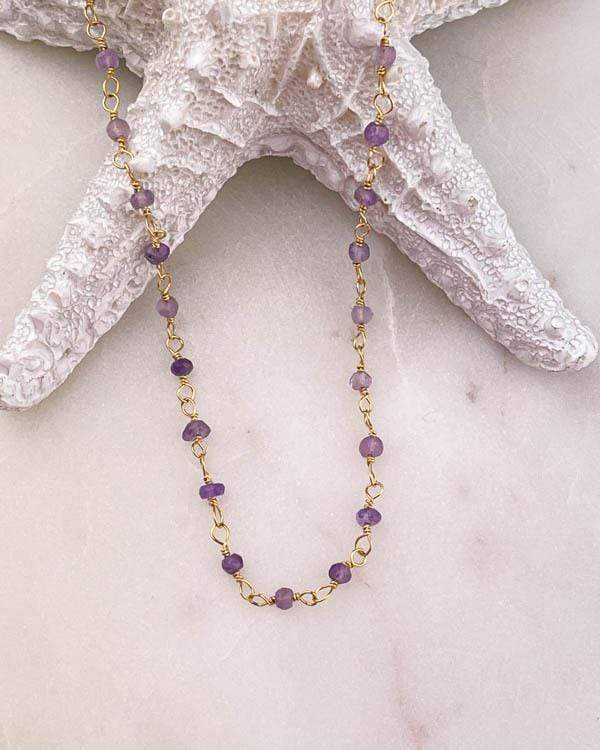 Shaded Amethyst Necklace USA Wholesale Ombre Amethyst Necklace February Birthstone Necklace Amethyst Bead Necklace Amethyst Bar Necklace