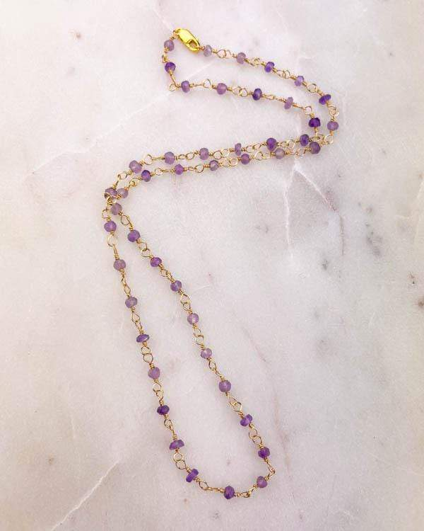 styleinshop Necklace-Gemstone Amethyst beaded necklace, February birthstone