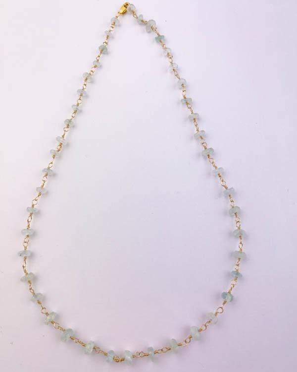 styleinshop Necklace-Gemstone Aquamarine beaded Necklace, March Birthstone