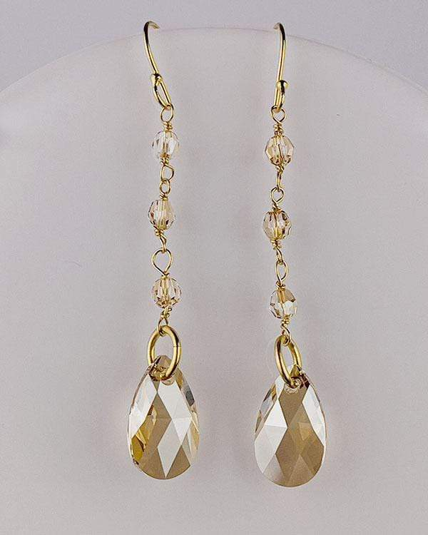 styleinshop Earrings-Swarovski Gold Swarovski Crystal Earrings