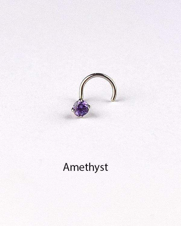 styleinshop Nose-Pins Amethyst / Right Screw Multicoloured Zirconia Nose Stud or Pin with 925 Sterling Silver
