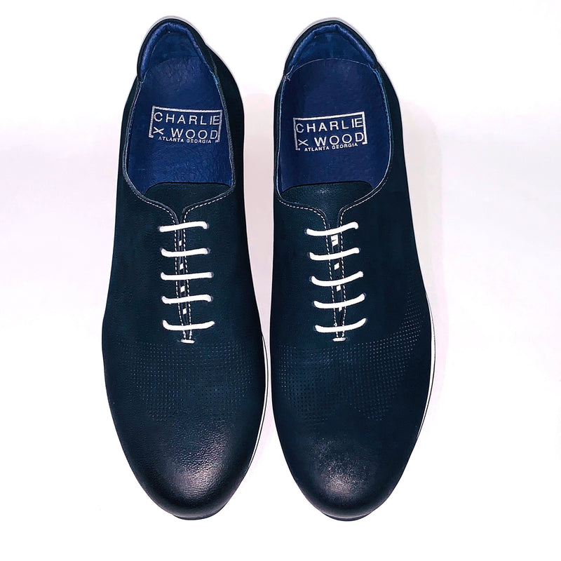 Blue Laceup White trimmed sole loafers