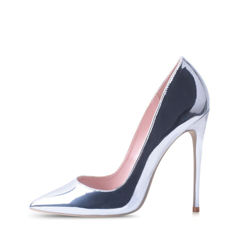 Silver Pointed Toes High Heels Pumps