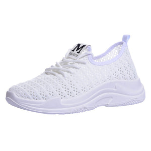 Beige Mesh Cushioned Women Sneakers