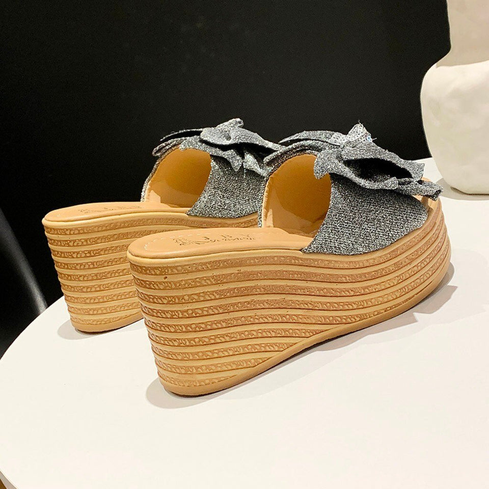 Bow Platform Wedges Slippers - Tsubo Shoes