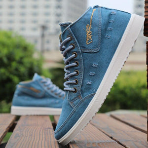 Fashion Denim Flat Sneakers - Tsubo Shoes