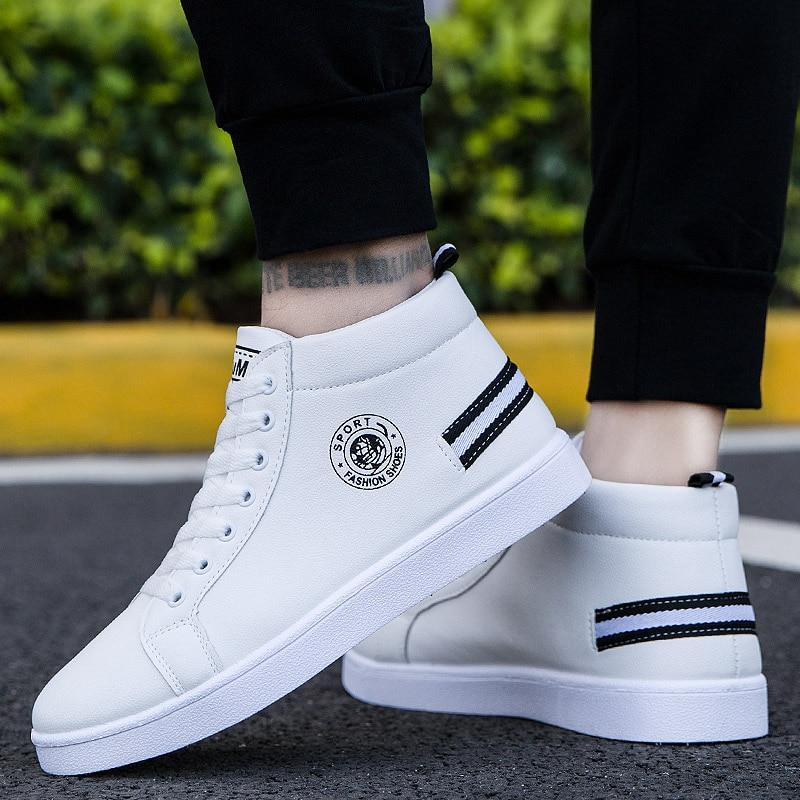 Fashion double slashes high top sneakers - Tsubo Shoes