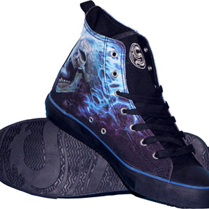 Flaming Skull High Top Laceup Sneakers - Tsubo Shoes