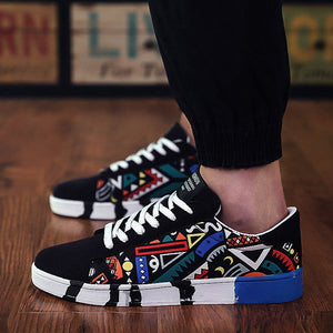 Graffiti Lace Up Sneakers - Tsubo Shoes
