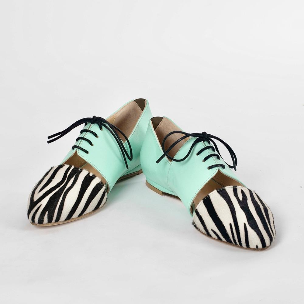 Handmade Pastel Mint and Zebra Print Oxfords - Tsubo Shoes