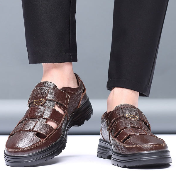 Men Fashion Breathable Leather Sandals - Tsubo Shoes