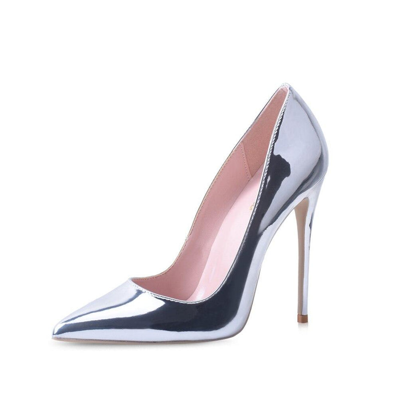 Silver Pointed Toes High Heels Pumps - Tsubo Shoes