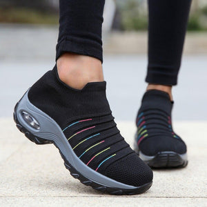 Striped Mesh Women Sport Shoes - Tsubo Shoes