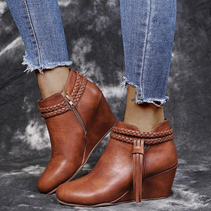 Tassel Wedges Boots - Tsubo Shoes