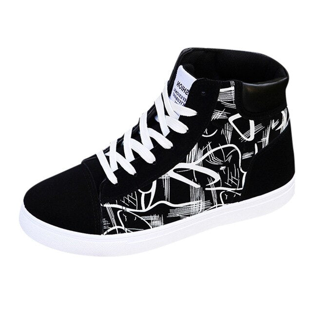 High Top White Lace Up Sneakers