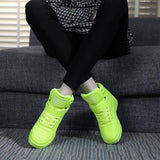 Women White Platform Sneakers High Top Height Increasing Shoes - Tsubo Shoes