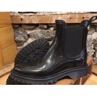 Lemon Jelly Block 05 Vegan Short Rubber Boot Shiny Black