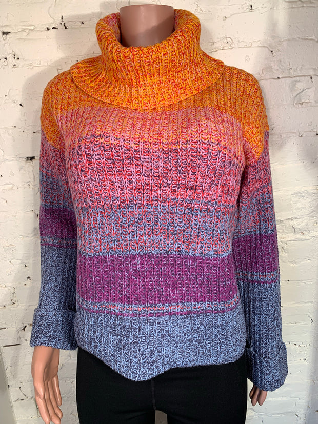 Beautiful Multi Coloured Cowl Neck Long Bell Sleeve Sweater by Tribal
