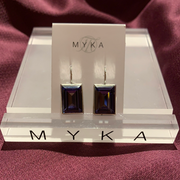 Myka E2385 Large Rectangle Crystal Rhodium Earrings