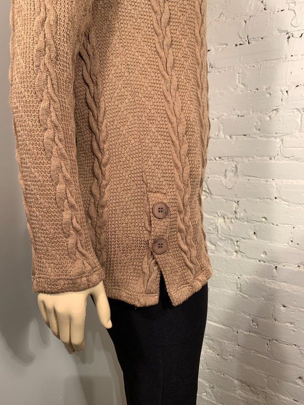 Soft Works Long Sleeve Cowl Neck Camel Cable Knit Top