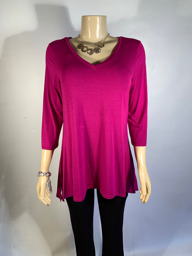 Pretty Woman V-Neck 3/4 Length Sleeve Bamboo Tunic