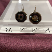 Myka E2826 Octagon Rhodium Earrings