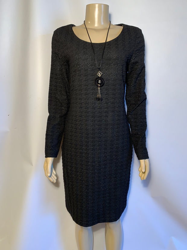 Michael Tyler Long Sleeve Black Dress w Necklace