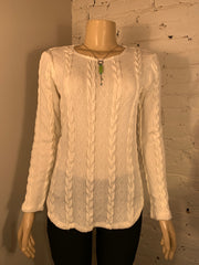 Soft Works Long Sleeve Cream Cable Knit Top