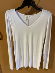 C'est Moi One Size Bamboo Long Sleeve V Neck Top