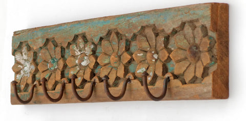 Antique Carved Flower Wood Hook Panel