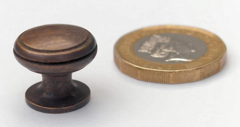 Miniature Cabinet Knobs in Antique Brass