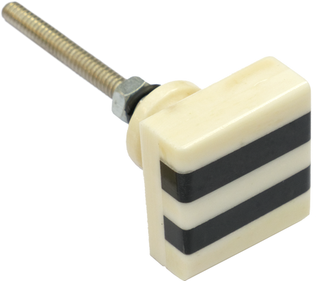 Square Striped Bone & Horn Cabinet Knob Small