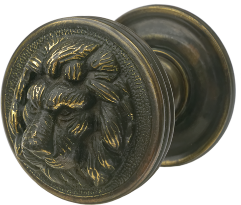 Lion Central Pull Antique Brass