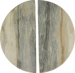 Grey Fossilised Wood Moon Handles