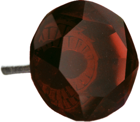 Red Cut Glass Knob (2 sizes)