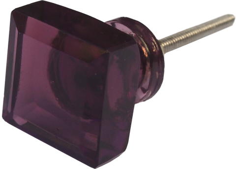Purple square Glass Knob (2 sizes)