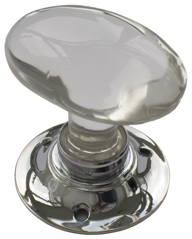 Oval Glass Turning Handle Nickel Base