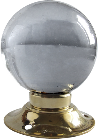 Large Crystal Globe Turning Handle Brass Base