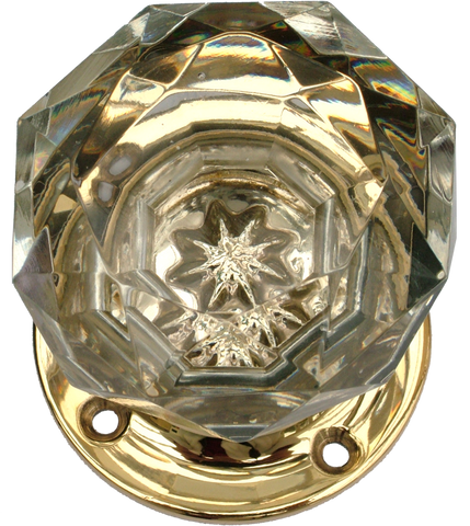 Crystal Star Turning Handle with Brass Base