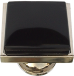 Inlaid Black Glass Square Cabinet Knob (3 sizes)