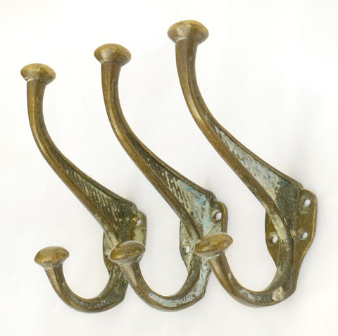 1890's Large Cast Brass Hook with Faded Paint, Set of Three