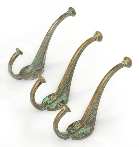 1890's Medium Cast Brass Hook with Faded Vert de Gris Paint, Set of Three