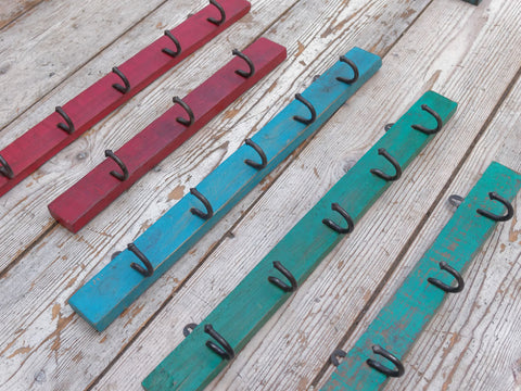 Distressed Hook Rack Green, Blue and Red