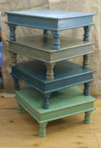 Low Painted Wood Side Tables