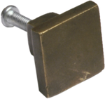 Antique Brass Square Cabinet Knob (2 sizes)